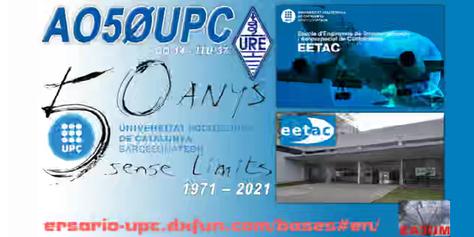 Diploma 50 Aniversario AO50UPC: Antenas y equipos SAT. Contacto vía satélite de EA3CAZ
